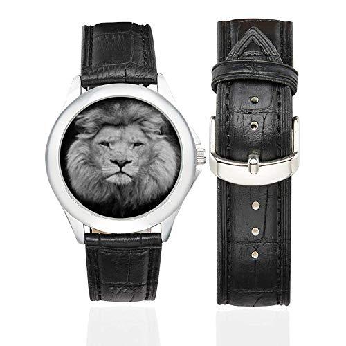 Reloj para Mujer Leo Zodiac, Correa de Piel Negra, Reloj Leo, Regalo de
