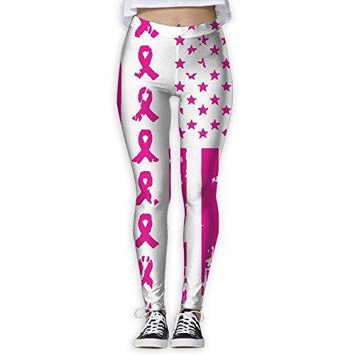 WJM SHOW Women's Breast Cancer Awareness USA Flag Leggings Yoga Long Pants Casual Sweatpants Athletic Gym - Rug Capri Cotton