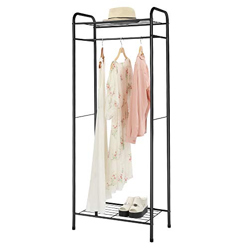 "HOME BI Heavy Duty Clothing Garment Rack, Clothes Stand Rack Organizer Storage Hanging Rod 2-Tier Metal Storage Shelf, 24""W x 15""D x 65""H, ()"