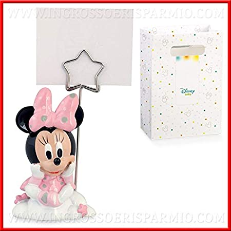Bomboniere Matrimonio Walt Disney.Memoclip Portafoto Con Minnie In Resina Rosa Firmata Walt Disney