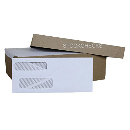 1,000ct, #9 Double Window Security - Tint Gummed Envelopes. Fits Software Compatible Check, Some Quicken, Quickbooks, Microsoft Money Checks, Quick Books, Intuit