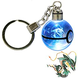LED Keychain 3D Crystal Ball Laser Engraving Party Favor Christmas Children's Gift (Mega Rayquaza)