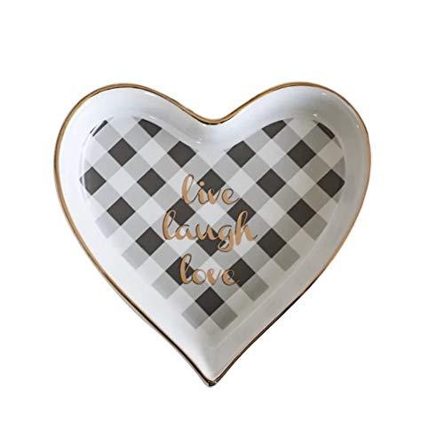 CheeseandU 1Pack Heart Shape Ceramic Jewelry Tray Cute Handpainted Trinket Love Design Cosmetic Holder Dish Desserts Snack Fruit Saucer Plate Home Decor Wedding Birthday Valentine's Gift, Small White