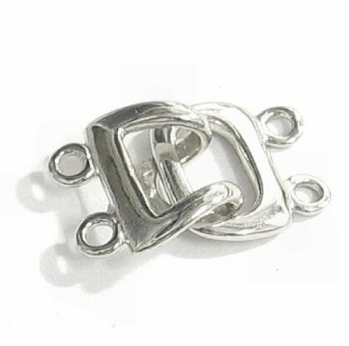 1 pc .925 Sterling Silver 2-strand Hook Eye Toggle Clasp 11.8mm / Connector / Findings / Bright