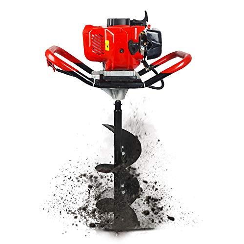 8 Inch Auger Bit - ECO LLC 52cc 2.4HP Gas Powered Post Hole Digger with 8 inch Earth Auger Drill Bit