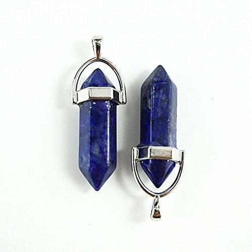 AKOAK 2 Pcs Gemstone Bullet Shape Healing Pointed Chakra Beads Crystal Quartz Stone for Necklace Jewelry Making,Lapis Lazuli - Bullet Gemstones