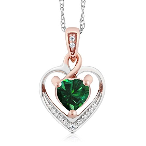 10K White and Rose Gold Green Nano Emerald and Diamond Heart Shape Pendant Necklace (0.35 cttw, With 18 inch Chain) by Gem Stone King
