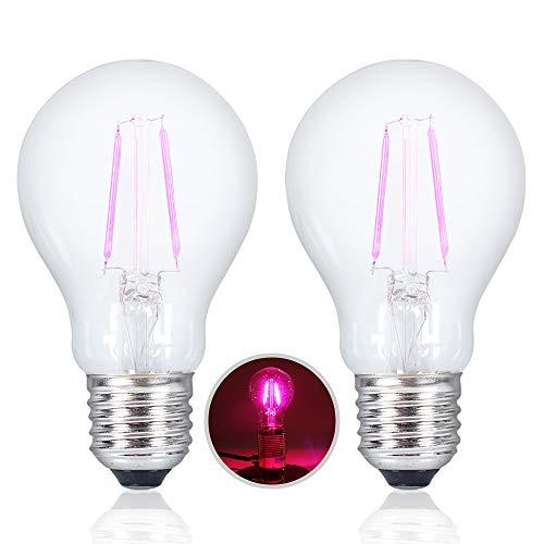 2 Pack BlueX LED A19 Purple Filament Light Bulb - E26 Base LED Color Bulb, with A Clear Glass Traditional Look - Party Decoration, Porch, Home Lighting, Holiday Lighting, Decorative Illumination