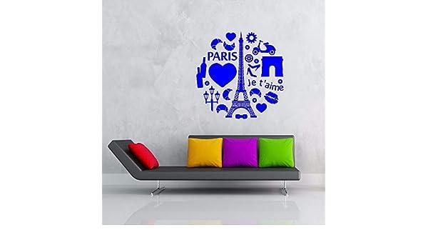 guijiumai Vinilo Tatuajes de Pared Paris Jet Aime Corazón Torre ...