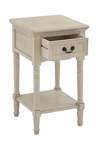 Ivory Bedroom Furniture - Deco 79 Wooden Night Stand, 16-Inch Width by 29-Inch Height