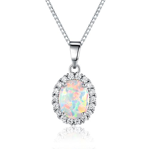 Opal White Gold Necklace (GEMSME Created Opal 7x9mm Oval Halo Cubic Zirconia Pendant Necklace (white-gold-plated-brass))