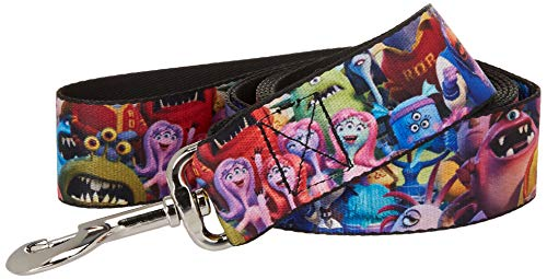 Buckle-Down Pet Leash - Monsters Inc. Sully & Mike Poses/GRRRRR! Black/Turquoise/Green - 6 Feet Long - 1.5