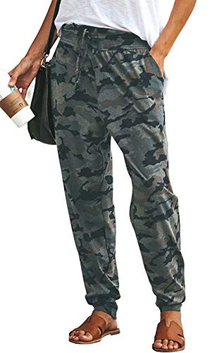 fy Casual Pajama Pants Camouflage Print Drawstring Palazzo Lounge Pants Size US 6-8/Tag L (Camouflage) ()
