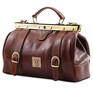 Tuscany Leather Monalisa Doctor Gladstone Leather Bag with Front Straps Black