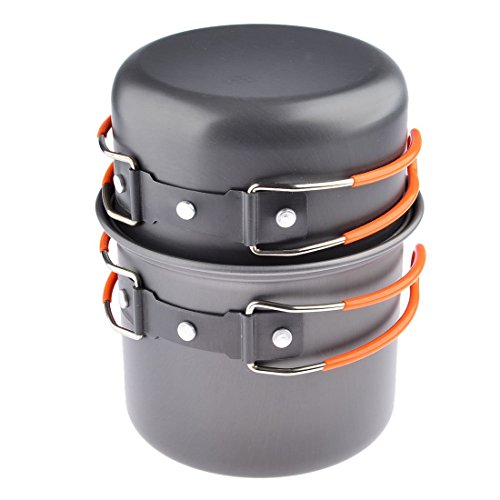 Camping Pots & Pans, Petforu [Pack of 2] Backpacking Campfire Cookware Camping Pots and Pans Set Compact – Orange