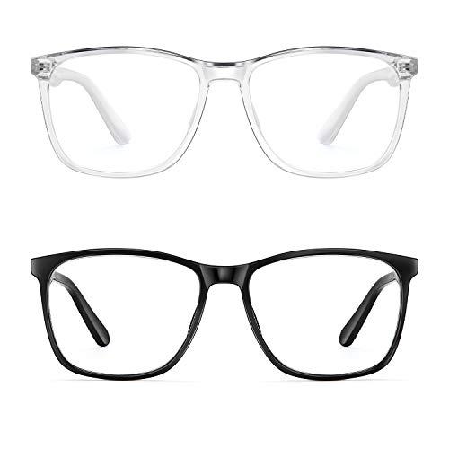 Blue Light Blocking Glasses Women/Men, PengSer Fashion Lightweight Frame Computer Eye Glasses Anti Eyestrain & UV Glare for Gaming & Reading, 2-Pack (Black & Clear)