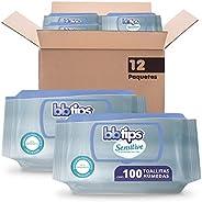 BBtips Sensitive Toallitas Húmedas, Caja con 12 paquetes x 100 piezas, 1200 toallitas