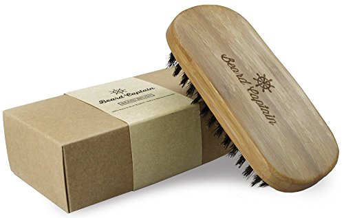 Beard Captain Boar Bristle Bamboo Base Beard Brush for Men with Travel Bag and Box