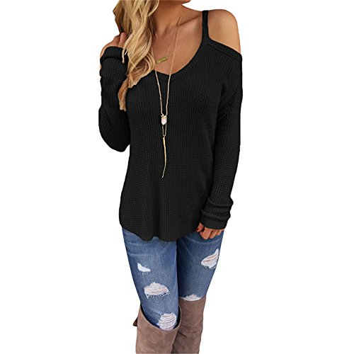 Eiffel Women's Cold Shoulder Knit Long Sleeves Pullover Sweater Tops Blouse Tunic (X-Large, Black)