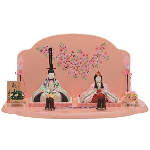雛人形 一秀 江戸木目込み人形 親王(2人) 平飾り 書目 桃山雛 幅52.5cm [i-26-h15] ピンクのお雛様 ひな祭り   B0777GTFQ9