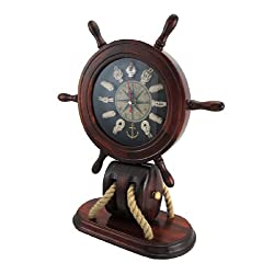 Things2Die4 Wooden Ships Wheel and Nautical Knots Mantel Clock