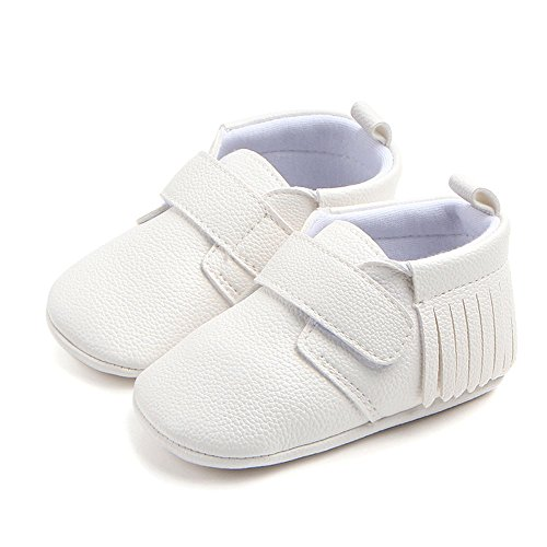 Antheron Infant Moccasins - Unisex Baby Girls Boys Tassels Soft Sole Toddler First Walker Newborn Crib Shoes(White,0-6 Months) - Image 4