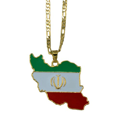 AccessCube Unisex Country Map Flag Pendant Necklace Gold Silver Color Charm Maps Jewelry (Iran/Gold)