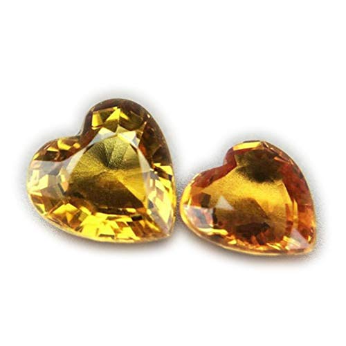 (Lovemom 1.06ct/2pcs Natural Heart Yellow Sapphire Songea Tanzania #R)