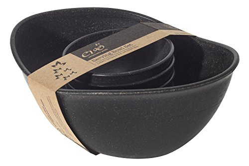 EVO Sustainable Goods Five Piece Serving Bowl Set, Black (Individual Salad Bowl Black)