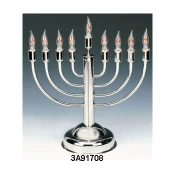 Amazon Com Silverplated Electric Menorah With Flickering