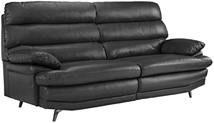 Divano Roma Furniture Classic Real Leather Sofa Couch Grey