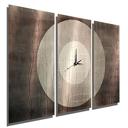(Statements2000 Abstract Modern Silver, Grey and Jewel-Toned Metallic Wall Clock Sculpture - Multi-Piece Contemporary Home Office Decor Art Accent - Dynamic Onyx by Jon Allen )