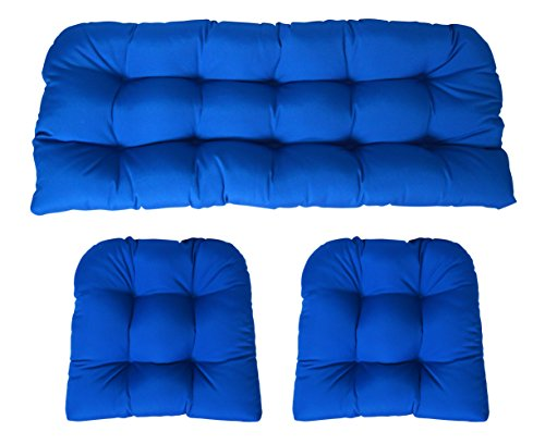 (RSH Decor Sunbrella Canvas Pacific Blue 3 Piece Wicker Cushion Set - Indoor/Outdoor Wicker Loveseat Settee & 2 Matching Chair Cushions)