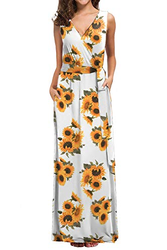 Womens Sleeveless V-Neck Floral Print Wrap Long Maternity Dress Maxi Dress with Pockets Sun Flower L