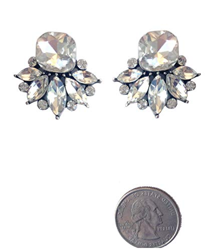 - Art Deco Antique Vintage Retro Style Imitation Diamond Clear Rhinestone Cushion Bridal Bridesmaid Wedding Prom Cluster Earrings