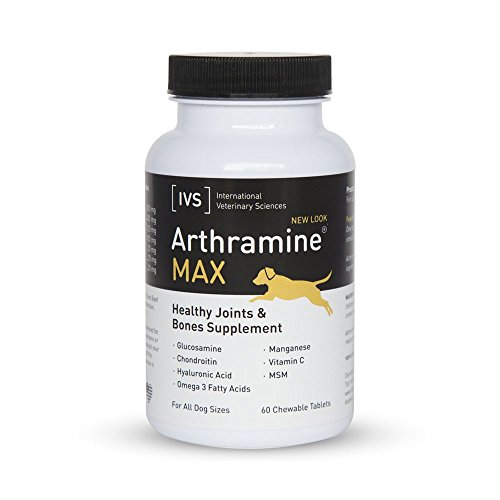 International Veterinary Sciences 60 Count Arthramine Max Complete Glucosamine, Chondroitin and Hyaluronic Acid, Bone and Joint Performance Supplement for Dogs