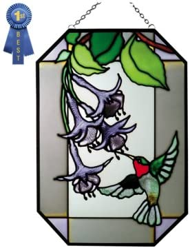 Hummingbird with Fuchsia Ready-to-hang Art Glass Octagon