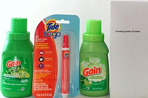 Gain Travel Liquid Laundry Detergent Original Scent, Gain Fabric Softener and Tide To Go Instant Stain Remover Travel Bundle