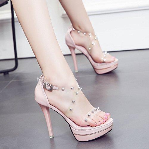 Chaussures Forme Shop Femmes 55 Plate Transparent Pink La Printemps Sandales Ultra Talon ZHUDJ Imperméable Haut 12Cm Nuit Talon Film Fine De Toe Rosée 3068 XqwX0Fg7