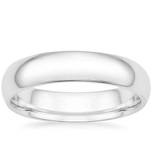 MCS Jewelry 14 Karat Gold Men's and Women's Plain Wedding Band Ring 8MM Comfort-Fit Light (white-gold, 10) by MCS Jewelry (Image #1)