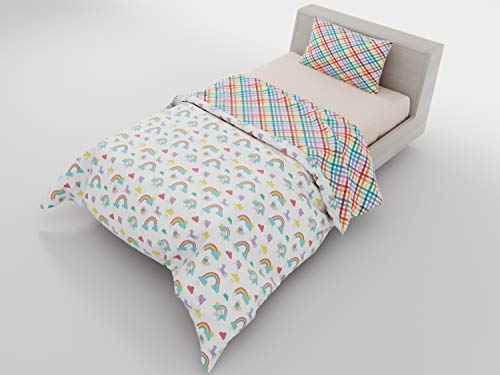 Twin Duvet Reversible Rainbow Unicorn & Gingham - with 1 Pillowcase for Kids Bedding - Double Brushed Microfiber by Where The Polka Dots Roam (68