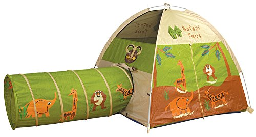 Pacific Play Tents 20435 Kids Safari Fun Dome Tent Crawl Tunnel Combo Indoor / Outdoor Fun -
