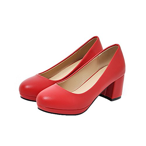 AllhqFashion Womens Round-Toe Kitten-Heels PU Solid Pumps-Shoes Red q8tt8JMK