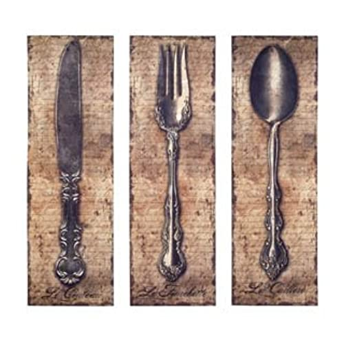 Vintage Kitchen Silverware Canvas Wall Art Spoon Knife Fork