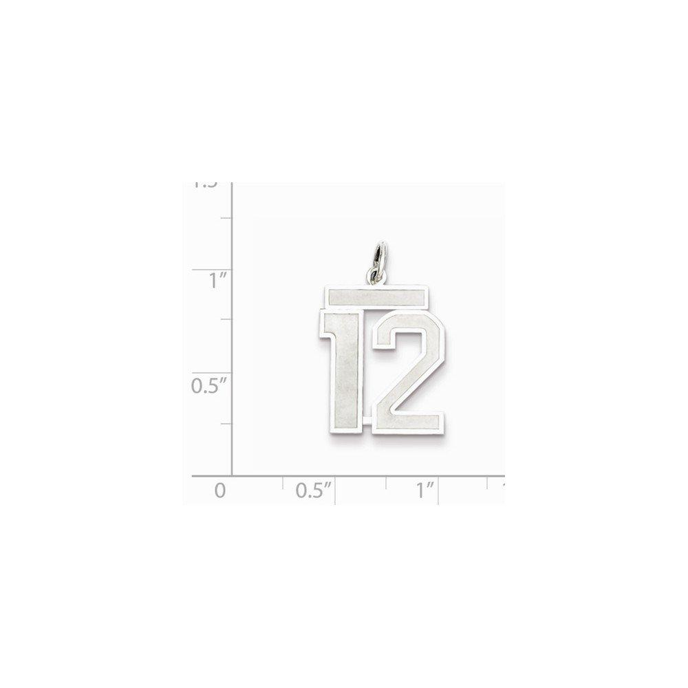 Sterling Silver Medium Satin Number 12 Charm