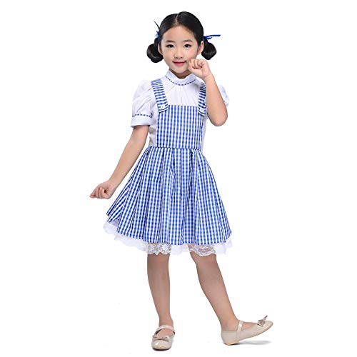 Kid Blue Gingham Dresses Girl Plaid Strappy Skirts Dance Fluffy Tutu Halloween Cosplay Princess Dress Fairy Tale (Blue, L) -