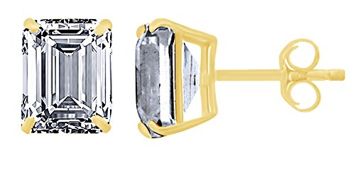 Emerald Cut Simulated White Sapphire Solitaire Stud Earrings In 10K Solid Yellow (Emerald Cut Yellow Sapphire)