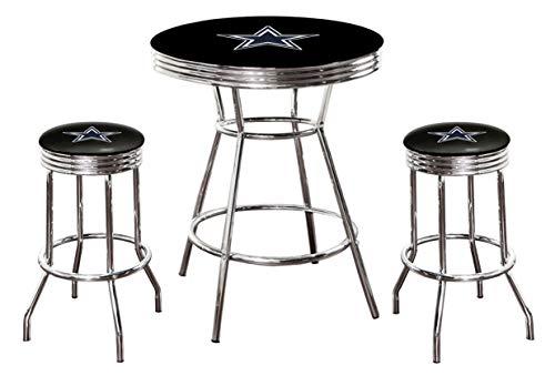 3-Piece Set Black Pub/Bar Table with a Football Team Logo and 2-29