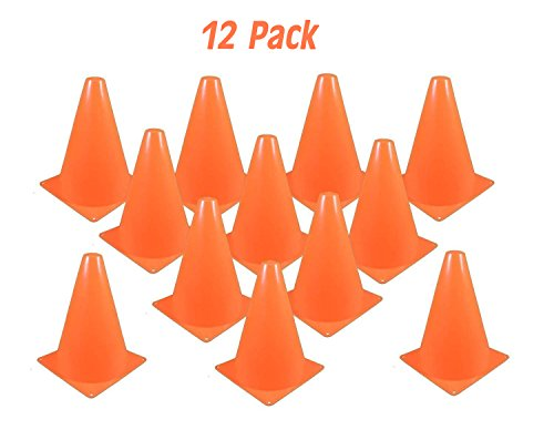 Kidsco Traffic Cones Plastic 8 Inches - Pack Of 12 Multipurpose Construction Theme Party Sports Activity Cones for Kids Outdoor and Indoor Gaming and Festive Events – By -