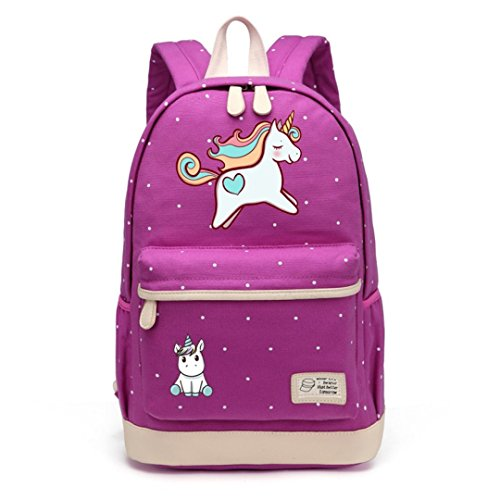 Teen Girl Female Canvas Polka Dot School Bag -